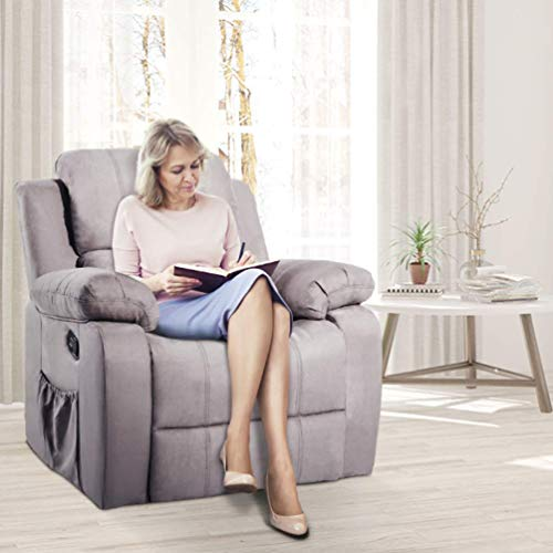osea Recliner Chair Ergonomic Lounge Massage Sofa with Suede Heated (Gray)