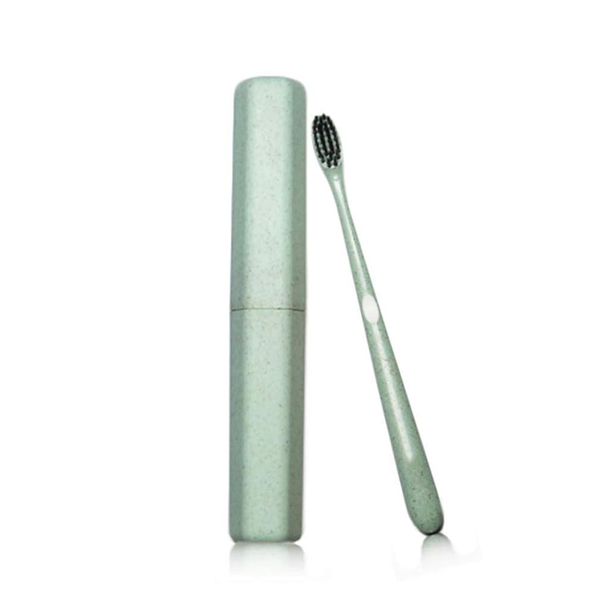 シーサイド注文シーフード歯ブラシ大人のチューブ歯ブラシ特別なソフト竹炭ワイヤーカップル小さな頭の歯ブラシカスタムトラベル小麦麦わらの歯ブラシ (色 : Green, サイズ さいず : 10pcs)
