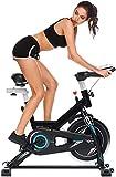ANCHEER Bicicleta de Spinning Bicicleta Indoor de Volante de Inercia de 22kg/18kg Bicicletas deCiclo con Conecto con App Resistencia Ajustable y Monitor LCD para Ejercicio en el Hogar (Negro Tipo 1)