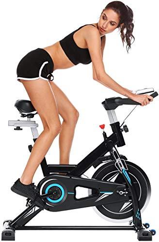 ANCHEER Bicicleta de Spinning Bici estática Indoor de Volante de Inercia de 22kg Bicicletas de Ejercicio App Conexión Resistencia/Sillin Ajustable y Pantalla LCD para Ejercicio en Casa