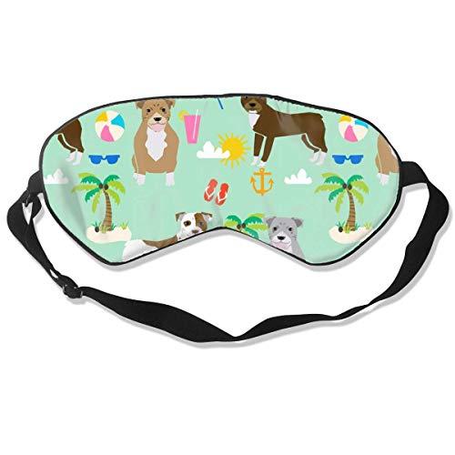 Pitbull Beach Zomer Hond Ras Huisdier Liefhebber Puistjes Zijde Slaap Masker Comfortabele Blindfold Oogmasker Verstelbaar voor Mannen, Vrouwen of Kinderen
