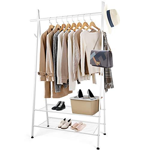 Amzdeal Appendiabiti con 2 scaffali, appendiabiti per appendere scarpe e scatola, multifunzione, carico totale 125 kg, 106 x 45 x 162 cm, bianco
