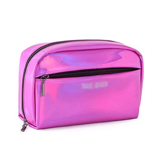 Sac cosmétique Femelle en Cuir Portable Anti-Aquarelle Maquillage Sac Wash Bag Grande capacité Voyage Portable Travel Wash Sac (Color : Red, Taille : 21 * 13cm)