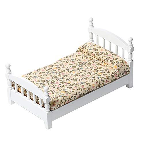 Accesorios para muebles de casa de muñecas, 1/12 linda cama de madera en miniatura de sala de estar de juguete decoración de muebles modelo ornamento
