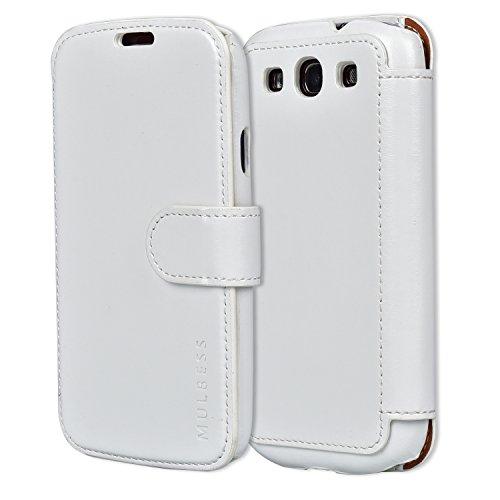 Mulbess Cover per Samsung Galaxy S3, Custodia Pelle con Magnetica per Samsung Galaxy S3 / S3 Neo Caso, Bianca