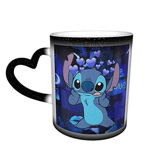 Stitch 9 - Taza de café con diseño de anime (cerámica), color sensible al calor, tazas cambiantes de agua, taza de té kawaii, cielo estrellado, novedad