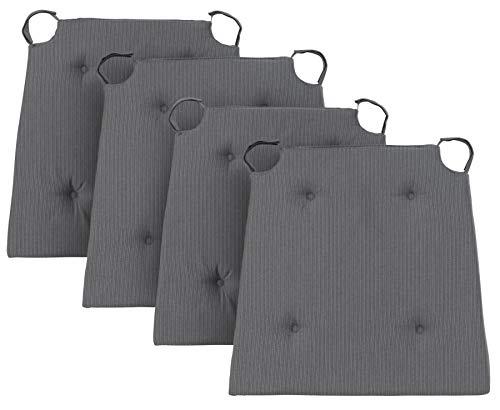 Traumnacht Stuhlkissen Basic 4er Set, mit einem Baumwollbezug, 40 x 42 x 4 cm, grau