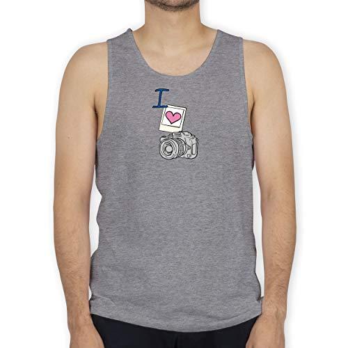 Shirtracer I Love - I Love Photography - XL - Grau meliert - Tank Top - BCTM072 - Tanktop Herren und Tank-Top Männer