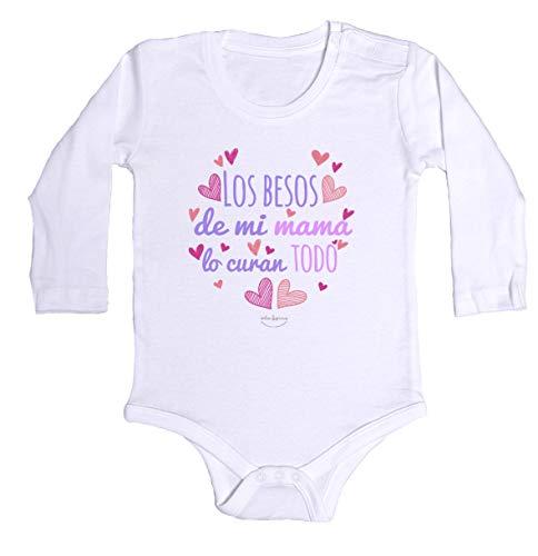 """Body bebé regalo nacimiento - manga larga - Mensaje""""Los besos de mi mamá lo curan todo"""" (Blanco, 3 meses)"""