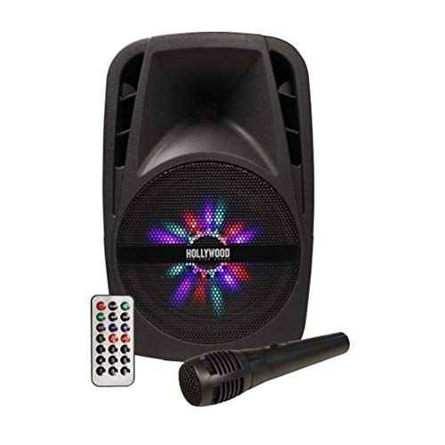 "LHG Mobile Soundanlage 300W Beschallungsanlage Hollywood + LED-Beleuchtung + Kabelmikrofon + Teleskopgriff Lautsprecher aktiv 43cm Höhe - 8\"" Woofer USB/SD Bluetooth Soundsystem inkl. Fernbedienung"