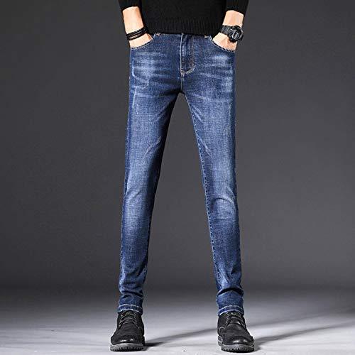 N-B Pantalones Vaqueros elásticos de Moda para Hombre Pantalones Ajustados para Hombre Pantalones Rectos pequeños