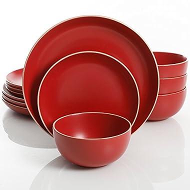 Gibson Home Rockaway 12-Piece Dinnerware Set Service for 4, Red Matte