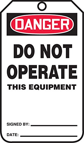 Accuform MDT170CTP PF-Cardstock Safety Tag, Legend'Danger Do Not Operate This Equipment', 5.75' Length x 3.25' Width x 0.010' Thickness, Red/Black on White (Pack of 25)