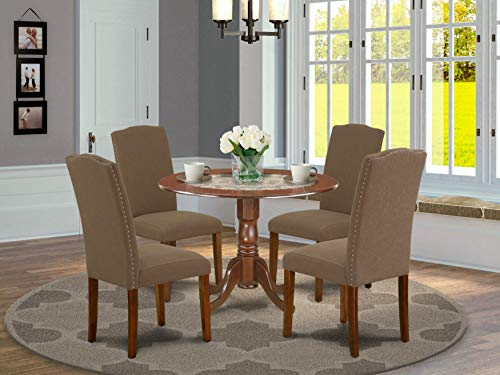 East West Furniture Dining Room Set 5 Pieces - Dark Coffee Linen Fabric Padded Parson Chairs - Mahogany Finish Solid wood two 9-inch drop leaves Kitchen Table and Frame
