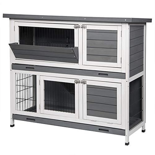 EUGAD 0006TL Hasenstall Kaninchenstall Hasenkäfig Kleintierstall Meerschweinchen Massivholz Grau-Weiß 120 x 50 x 100,5 cm