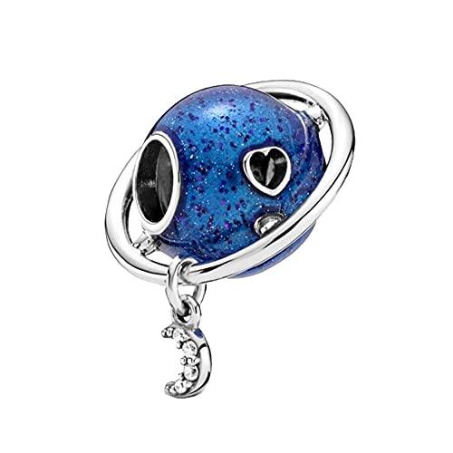 Pandora 925 Sterling Silver Jewelry CharmNew Beads Planet Love Moon Charm Fit Original Pulsera Joyería de Navidad