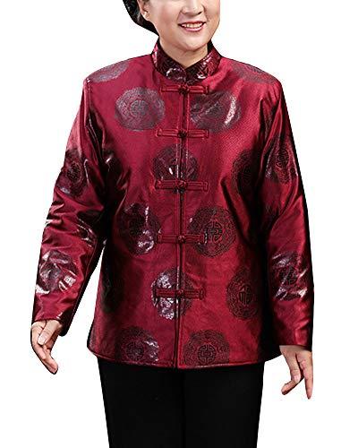 Hombres/Mujeres Camisas Impresión Chino Tradicional Traje Tang de Manga Larga Artes Marciales Camisa Tops con Hebilla Morado Rojo mujer2 XXL