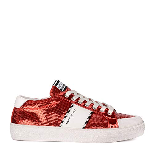 MOA Master Of Arts Women's Moa Red Sequins and White Leather Sneaker 39(EU)-9(US) Red