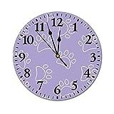 Reloj de pared de PVC de 10 pulgadas con patrón de huellas de perro, silencioso, digital, funciona con pilas, para dormitorio, sala de estar, sala de estar, sala de estar, sala de estar