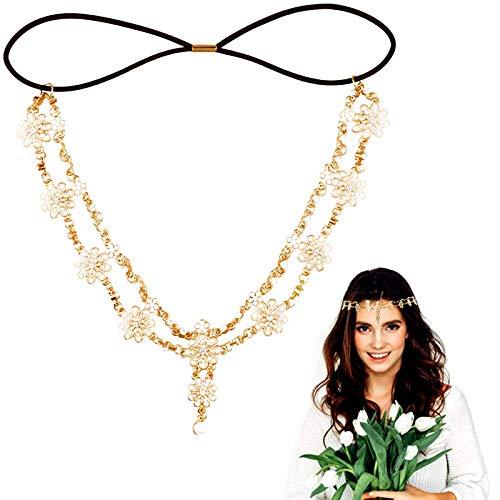 Braut Stirnbänder Gold Kopfketten Haarschmuck Boho Kopfschmuck Blumen für Hochzeit Party & Frauen Mädchen