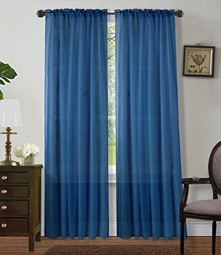 """2 Panels Window Sheer Curtains 54"""" x 84"""" Inches (108"""" Total Width), Voile Panels for Bedroom Living Room, Rod Pocket, Decorative Curtains, Solid Sheer Navy Blue"""