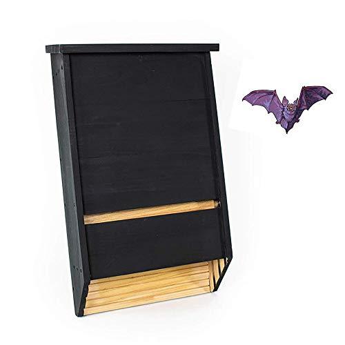 Bels Casa para murciélagos, Hotel para murciélagos Hecho de Madera Bat House Nido para murciélagos 40x16x68.5cm(Negro/2 Pcs)