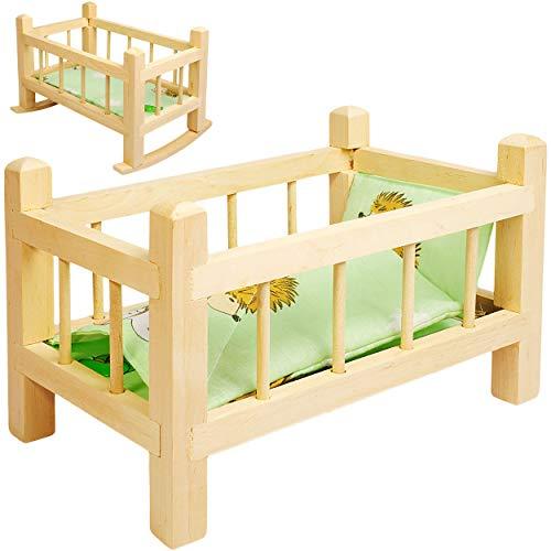 alles-meine.de GmbH 2 in 1: Puppenbett & Puppenwiege - aus Holz - UMBAUBAR - mit Bettzeug - Jungen Farben - 34 cm lang - Bett aus Naturholz - für Puppen - Decke & Kopfkissen ..