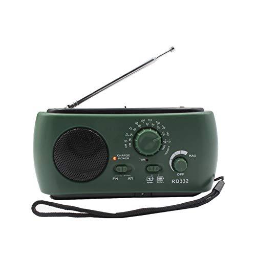 Receptor de radio, 3led de iluminación Am/Fm Radio con teléfono móvil de carga de emergencia cargador USB con potente generador de manivela (verde)
