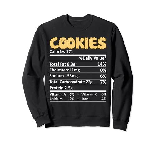 Cookie Nutricin Informacin Alimentaria Disfraz de Accin de Gracias Navidad Sudadera