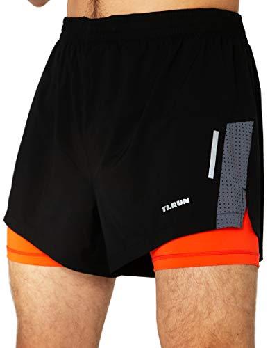 TLRUN Men's 2 in 1 Running Shorts Lightweight Quick Dry Marathon Workout Gym Shorts Zip Pocket(Medium, Black&Orange)