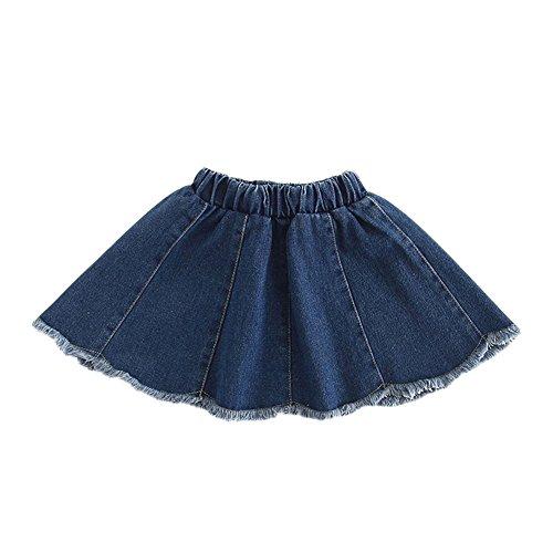 LaoZanA Niñas Falda Vaquera Faldas Cortas Cintura Alta Faldas De Mezclilla Plisada Azul