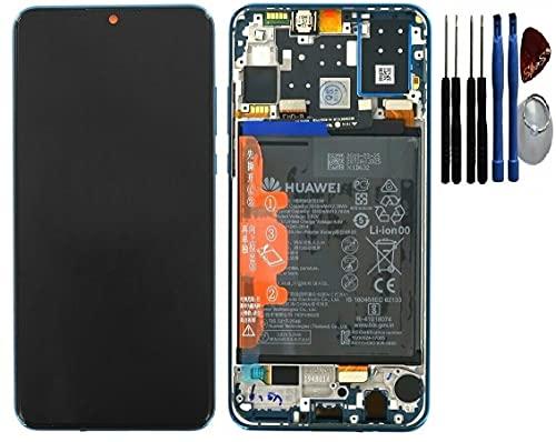 SPES Original Touchscreen Bildschirm LCD Display mit Rahmen Blau für Huawei P30 Lite & Akku