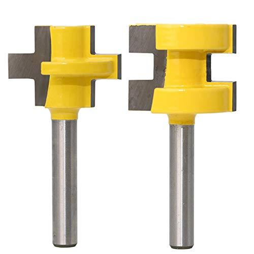 Fresa Conjunto de bits de enrutador de mini lengua y ranura de 2pc - 1/4'Cuchillo de línea de vástago cortador de carpintería cortador de tenón para herramientas de carpintería RCT 15382