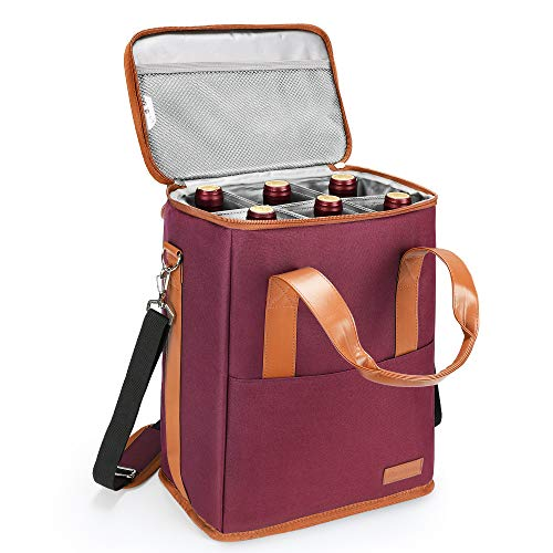 6 Bottle Wine Carrier - Insulated & Padded Wine Carrying Cooler Tote Bag with Handle and Adjustable Shoulder Strap for Travel or Picnic, IDEAL Wine Lover Gift, Wine
