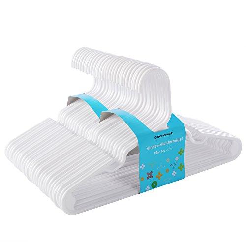 SONGMICS 30 Stück Kinder Kleiderbügel, für Babyklamotten/Babykleidung/Kinderkleidung, Premium-Qualität, dünn, platzsparend, starker hochwertiger Kunststoff, 29,5 cm, Weiß CRP06W-30
