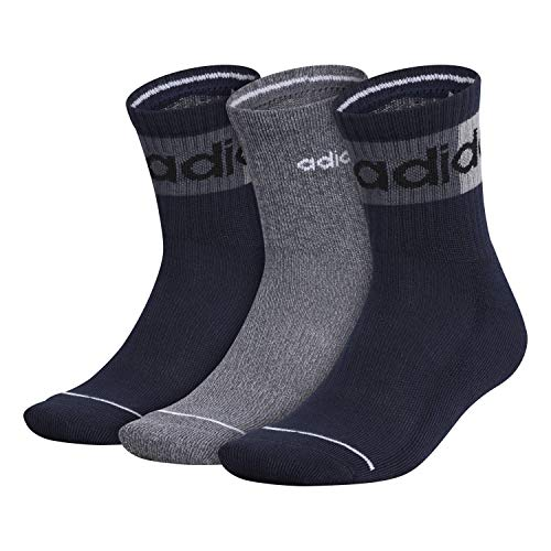 adidas Calcetines de cuarto alto lineal bloqueados para hombre (3 pares), Hombre, Calcetines, 978542, Legend Ink Blue/Onix Grey/Black, L