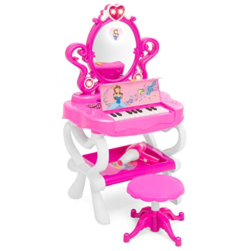 Best Choice Products Kids Princess Vanity Toy Set w/ Stool, 16 Pretend Accessories, Mirror, Keyboard, Lights - Pink