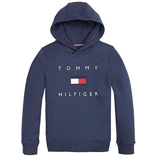 Tommy Hilfiger Jungen Th Logo Hoodie Pullover, Twilight Navy, 10