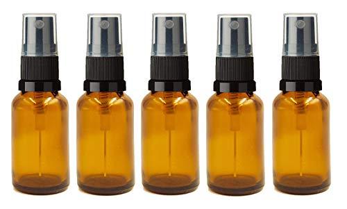 Pack de 5 x botellas de vidiro ámbar 15 ml con atomizador negro. Ideal para aceites esenciales, mezclas de aromaterapia, aguas florales, remedios homeopáticos. Tamaño perfecto para viaje con spray/pulverizador