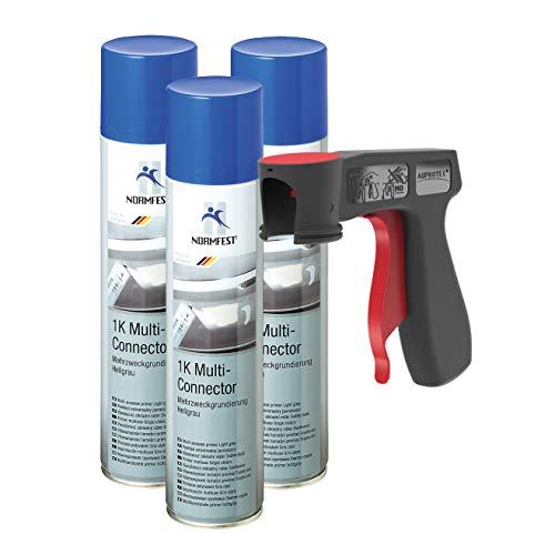 AUPROTEC 1K-Multi-Connector Mehrzweck Grundierung Füller Primer Rostschutz Spray 3X 400ml + 1x Original Pistolengriff