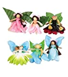 Magic Cabin Take-Along Posable Pocket Fairies with Leaf Wings Inside an Organza Bag, Set of 6, 2 1/2' H