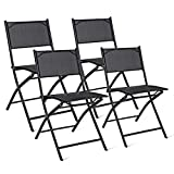 Giantex 4 PCS Folding Patio Chairs, Portable Camping Chair Set, Rust-Proof Steel Frame & Space Saving, Outdoor Patio Furniture for Deck Garden Pool Beach (Black)