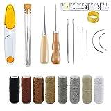 QUUPY 29pcs Set de reparación de tapicería, piel, lona, agujas de coser a mano, herramientas (8 colores de piel)