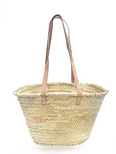 Afrikan Bags - Bolso Capazo de Palma| Bolso de Palma de Base Oval con Asa Bandolera en Cuero Natural - 44 x 14 x 27 cm