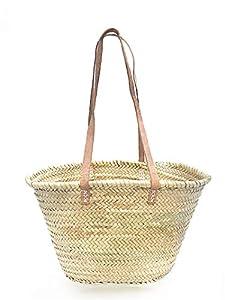 Afrikan Bags - Bolso Capazo de Palma  Bolso de Palma de Base Oval con Asa Bandolera en Cuero Natural - 44 x 14 x 27 cm