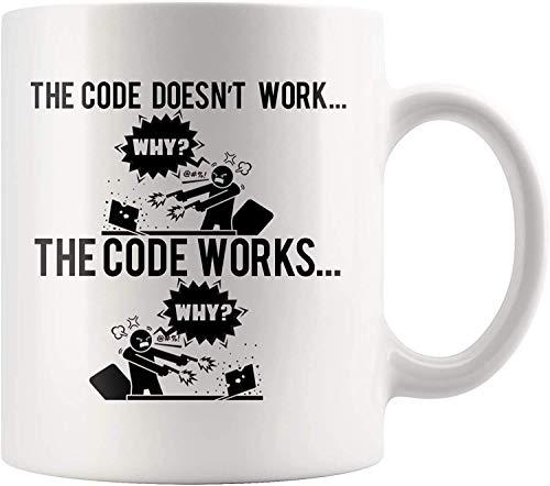 Taza de café divertida para programadores - Código funciona por qué - Idea de regalo de humor para programadores informáticos - Taza de café con leche de 11 oz de novedad