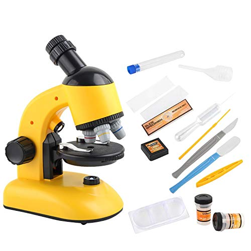 Microscope Kit for Kids 8-12, Microscope for Kids Beginner, Portable Children's Professional Biological 1200 Times HD Primary School Students' Optical Popular Science Optical Microscope (Yellow)