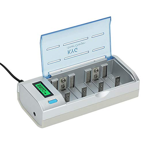 KYG Caricabatterie per Pile Caricatore a Spina EU per Batterie Ricaricabili Universale AA/AAA Ni-Cd Ni-MH Stilo Ministilo 4 Slot Plug Charger Con Display LCD Ignifugo(Batterie non incluse)