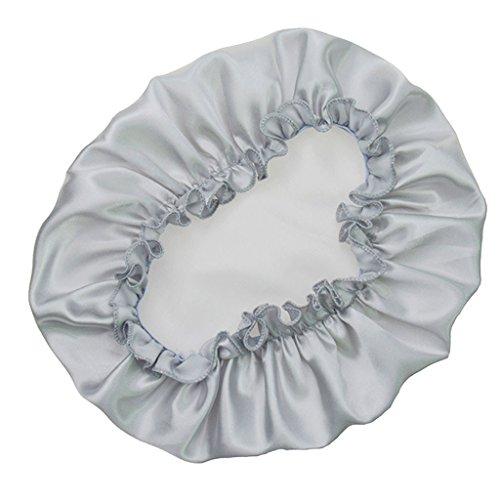 ruiruiNIE Femmes Dormir Cap Bonnet de Nuit Satin Couvre-Chef Bonnet Chapeau beauté des Cheveux élastique(Argent)