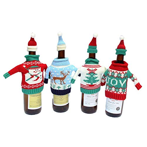 Weihnachtliche Weinflaschen-Abdeckung, gestrickt, Pullover und Aufsätze, Set für Feiertage, Weihnachtsflaschen, Dekoration für Bierflaschen, Weihnachtsfeier, Gastgeschenke, Tischdekoration (4 Stück)